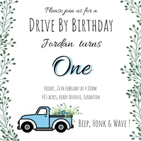 Drive-by Birthday Invitations Square (1:1) template