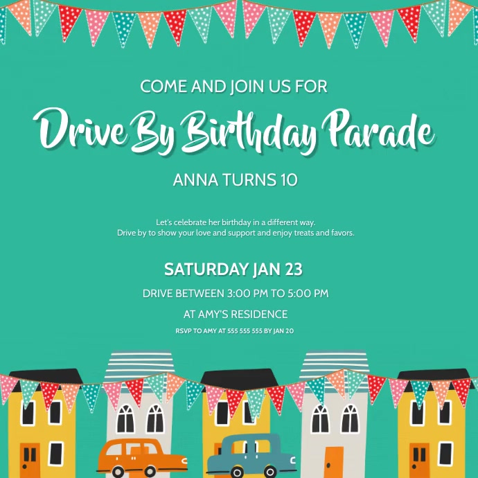 Drive by birthday parade card Instagram Post template
