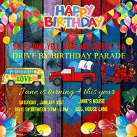 DRIVE BY BIRTHDAY PARTY INVITATION Square (1:1) template