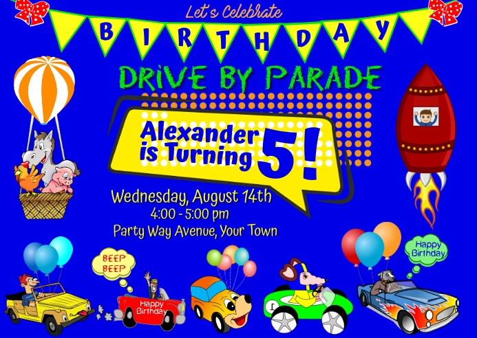 Drive By Birthday Party Postcard template