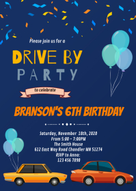 Drive by birthday theme invitation