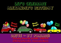 Drive-By Birthday Video Invitation ไปรษณียบัตร template