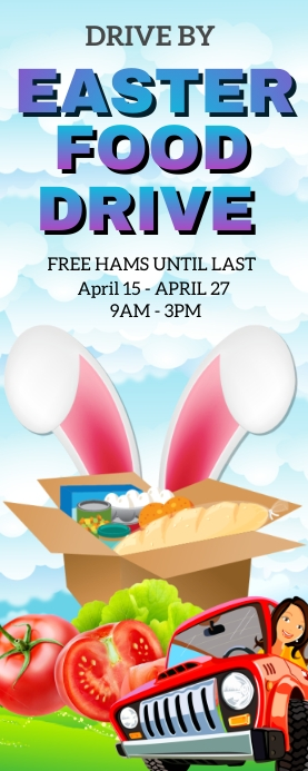 Drive By Easter Food Drive Roll Up na Banner 2' × 5' template