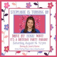 Drive By Girl's Birthday Invitation Ilogo template