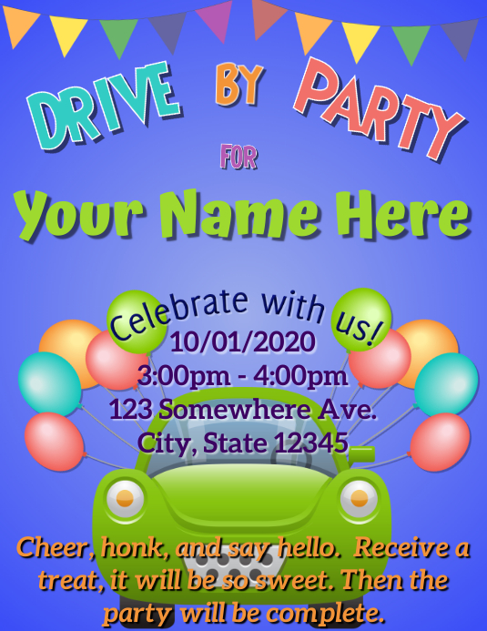 Drive by Party Flyer (US Letter) template
