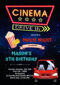 Drive in movie night birthday invitation A6 template