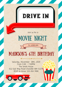 Drive in movie night birthday invitation