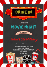 Drive in movie night birthday invitation