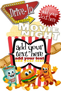 Drive-In Popcorn Movie 1950's Theme Community KIds Children