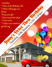 Drive Thru Birthday, Covid Safe Birthday Flyer (format US Letter) template