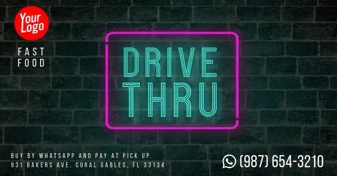 Drive Thru neon wall facebook shared video template