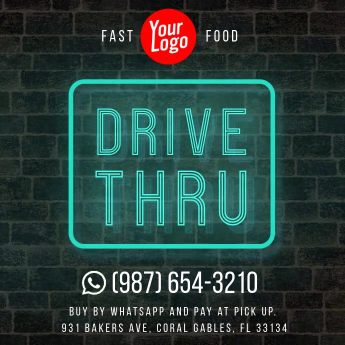 Drive Thru neon wall instagram square video Instagram-opslag template