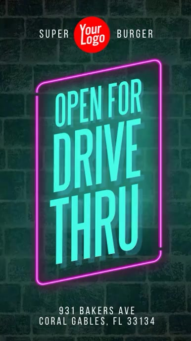 Drive Thru neon wall instagram story video