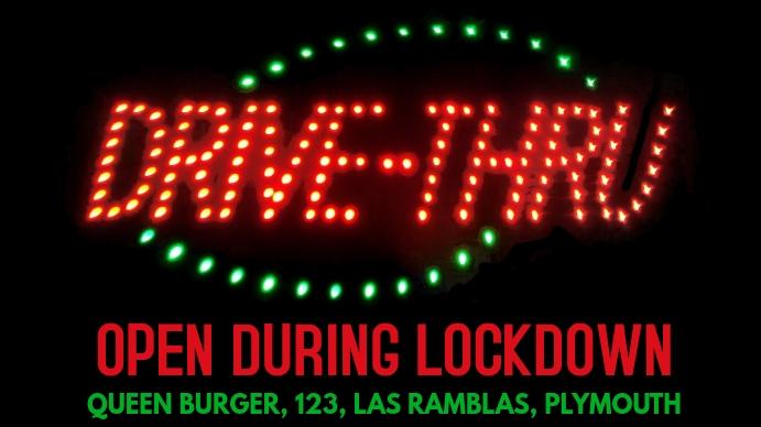 Drive-Thru Open Coronavirus Lockdown Template Digital Display (16:9)