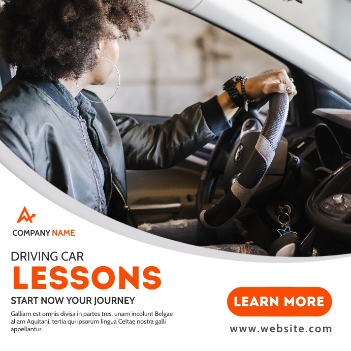 driving car lessons instagram post banner adv template