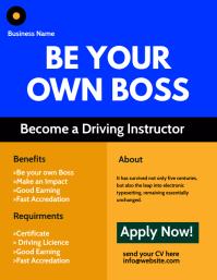 Driving Instructor Flyer Folheto (US Letter) template