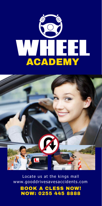 DRIVING SCHOOL Roll Up Banner 3' × 6' template