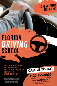 Driving School Flyer Design Template Poster