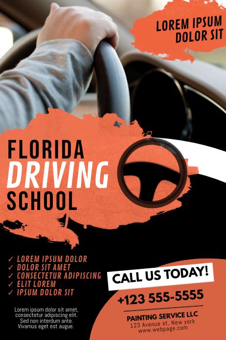 Driving School Flyer Design Template Poster