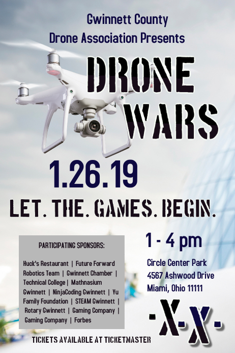 drone event template postermywall. Black Bedroom Furniture Sets. Home Design Ideas