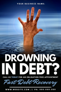 Drowning In Debt Poster template