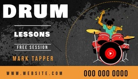drum lessons business card online video Besigheidskaart template