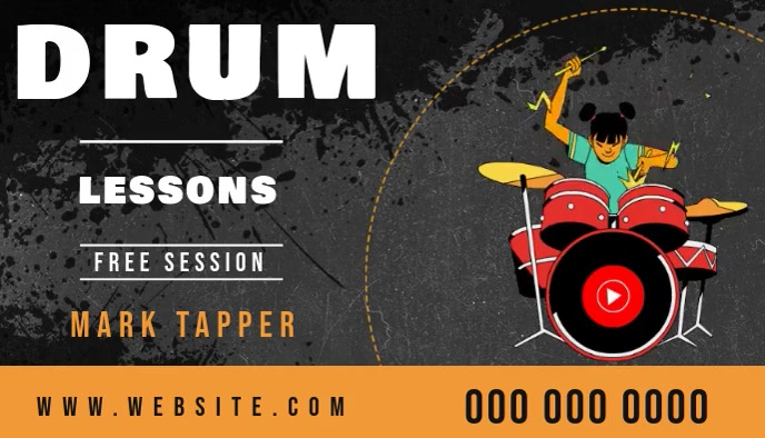 drum lessons business card online video template