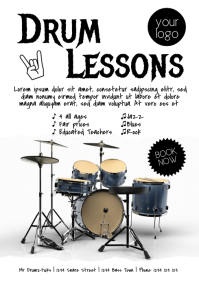Drum lessons flyer template Ad Music Teacher A4