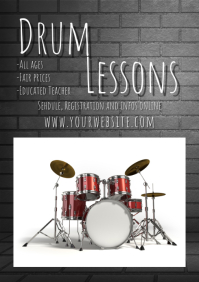 Drum lessons Flyer template poster advert A4
