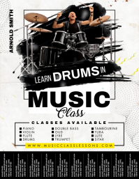 Drums Class Flyer with Tear-off Tabs template