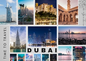 Dubai Travel Photo Collage Postcard template