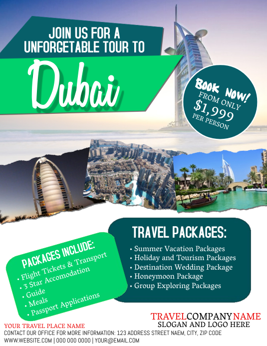 Dubai Travel Tour Flyer Template Pamflet (VSA Brief)