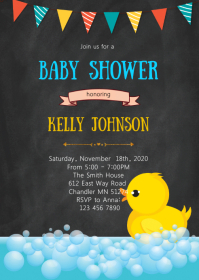 Duck baby shower elephant invitation