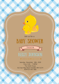 Duck baby shower party invitation