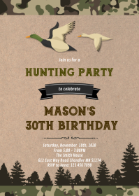 Duck hunting birthday invitation
