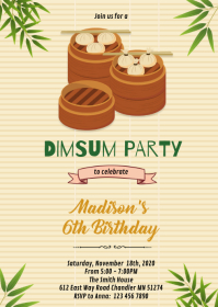 Dumpling dimsum party invitation A6 template