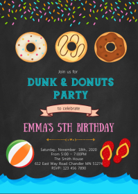 Dunk donuts party birthday invitation