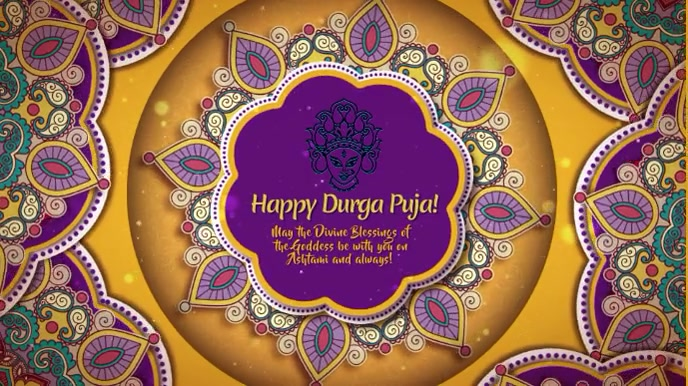 Durga Puja Purple and Orange with Music Digitalanzeige (16:9) template