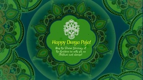 Durga Puja Green and Blue with Music Ecrã digital (16:9) template