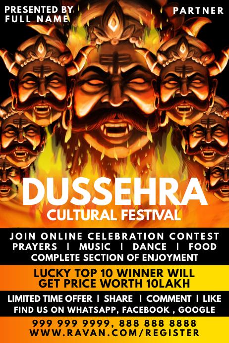 Dussehra Festival Contest Template Affiche