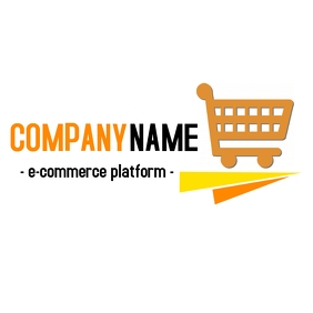 e-commerce logo with shopping cart template