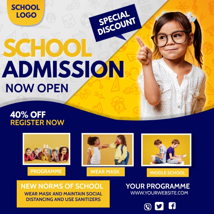 E learning,School admission,online classes Instagram Post template