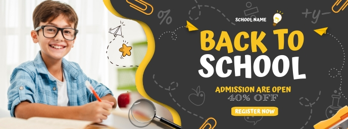 E learning,School admission,online classes Facebook Cover Photo template