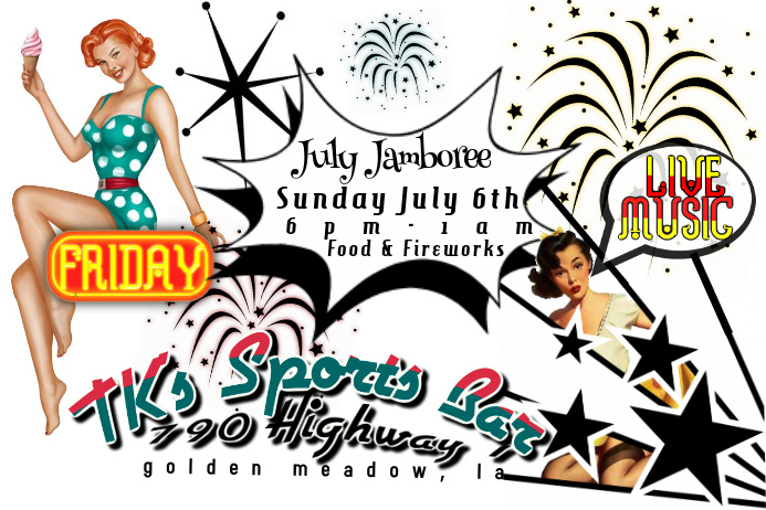 Pin-up Girl Rockabilly Fireworks Retro 50's Sock Hop Drive-In Flyer