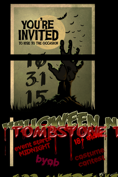 Graveyard Haunted House Zombie Tombstone Halloween Party Event Horror Invite Flyer Customize Template Design Size