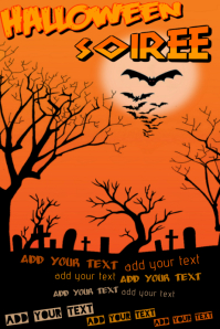 Halloween Spooky Graveyard Orange Bats Tombstones Event Invite Flyer Poster