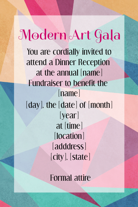 modern art gala reception event flyer invitation poster template