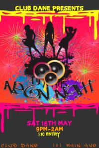 Club Event Venue DJ Neon Bar Paint Party Grunge Rainbow Dance Music Night Poster Flyer