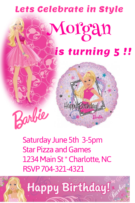 Barbie Birthday Invitation Customize Template