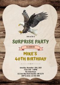 Eagle party birthday invitation A6 template